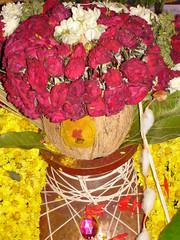 DSC04291 (nagashreenaveen) Tags: flowers india lamp festival indian traditional mandala celebration spiritual hinduism deepa yantra kolam rangoli colouful sudarshana homa hinduritual