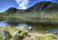 England: Cumbria - Harrison Pike, Pavey Ark and Stickle Tarn (Tim Blessed) Tags: uk sky mountains nature clouds landscapes countryside scenery lakes hills cumbria valleys lakedistrictnationalpark tarns anawesomeshot singlerawtonemapped