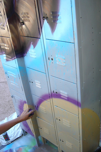 Blake Foster painting lockers for the gallery!