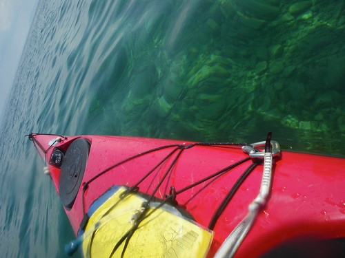 View of crystal clear lake michigan over the shoals on South Manitou Island from my Nigel Foster Sea Kayak