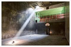 hoop dreams (statlerhotel) Tags: light basketball hoop ball court athletic heaven michigan beam bleachers gym bleacher heavenly basketballmeetsindianajones