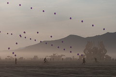 playing with balloons out on the playa