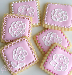 Brush Embroidery Cookies (Glorious Treats) Tags: pink ladies cookies pretty feminine elegant teaparty brushembroidery