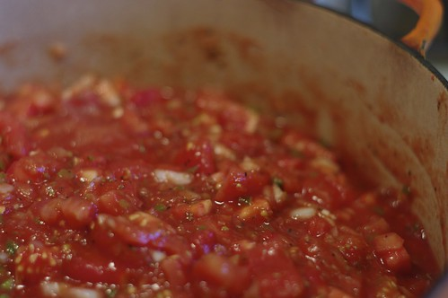 Cooked Salsa ready for jars