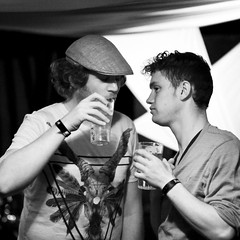 Ben and Nick before getting wrecked (Edward Moore as edshots) Tags: uk portrait england color colour intense brighton live gig canon5d topbloke tjk thejameskendall sourcefest magpimp