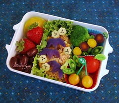 Burrito Bento (sherimiya ) Tags: flowers school fruits leaves kids lunch kid maple pretty tomatoes sheri plum strawberries broccoli fresh meal grapes bento carrots burrito obento peapods satsumaimo okinawansweetpotato sherimiya