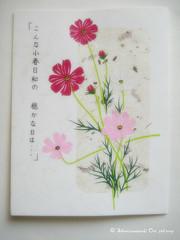 "Handmade card ""Posture of Cosmos"" / 手作りの和風カード・「秋桜の姿」"