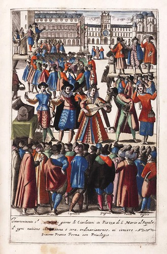 027-Cantantes y comicos en la Plaza de San Marcos-Habiti d'hvomeni et donne venetiane 1609