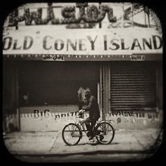 Coney Island memories (bob merco) Tags: sepia photoshop vintage coneyisland dirty nik rides textured fakettv supermerc81 bobmerco silverefexpro graphicmaster lonesomelizardfilms bobmercogliano lonesomelizard lonesomelizardproductions