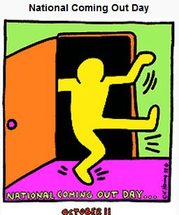 National Coming Out Day logo: Keith Haring image of a figure emerging, jubilant, from a closet door