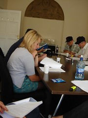 Aine, Sean Paul, Rick, and others at the table read of Audio Episode 2