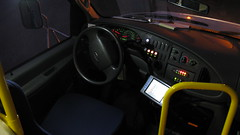 The operators cab of First Transit 2008 Ford paratransit bus # 5157. Glenview Illinois. November 2009.