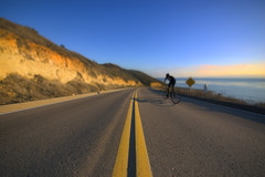 The Road (Lee Sie) Tags: ocean california road street blue sunset sky bike st coast vanishingpoint nikon cyclist pacific sandiego pavement biking asphalt rider yellowlines sigma1020mm d40 doublelines sdf14