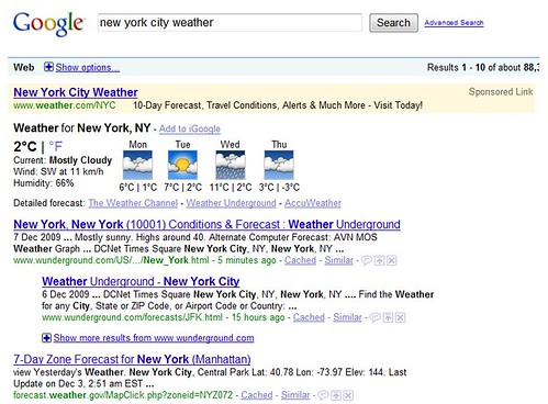 ... I Compared The Weather Reports On Bing And Google By Typing U0027New York  City Weatheru0027 Into The Search Bar In My Browser And Flipping Back Between  The Two ...