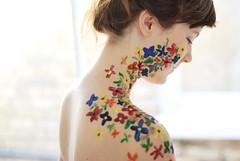 . (karin mathilda) Tags: flowers sunlight window hair paint body bare shoulder johanna eyesclosed kennedygarrett