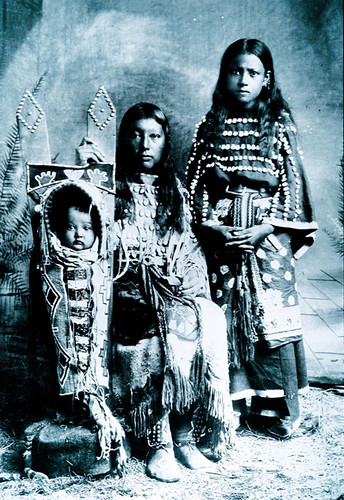 Lizzie Woodard, son Oliver and sister, Kiowas, ca 1888-1891.