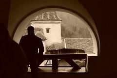 Searching vampires in Dracula`s castle (Bran Castle) (cosma2) Tags: blackandwhite bw castle sepia sony dracula romania muzeum brancastle