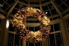 Wreath (Read2me) Tags: christmas windows light gold decoration ceiling lookingup cye gamewinner thechallengefactory yourock1stplace superherochallengewinner pregamewinner