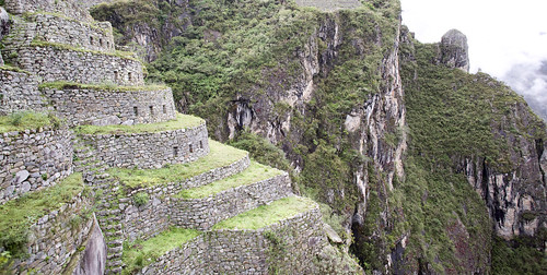 Steps and terraces leading down to the Jungle and River Urubamba on the western side of Machu Picchu.