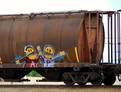 A&P (A & P Bench) Tags: canada art train graffiti fan artwork steel stock rail railway covered graff freight rolling hoppers benching