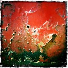 Exposed (Mistapiggeh) Tags: red metal rust peeling paint flakes iphone3gs hipstamatic kodotxgrizzled