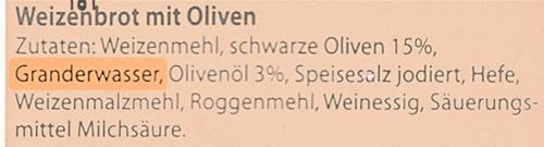Zutatenliste Olivenbrot