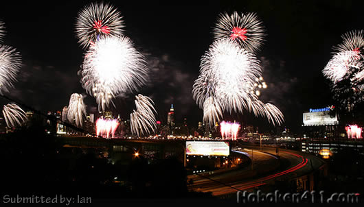 Hoboken Macys Fireworks Reader Photo Ian from near Lincoln Tunnel Viaduct
