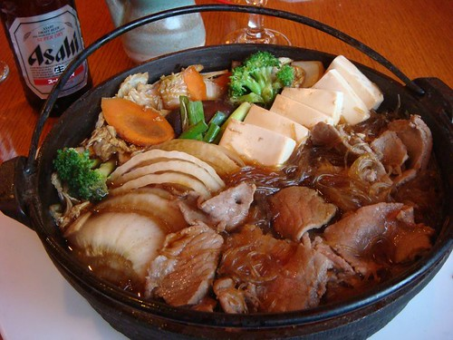 The huge pot of japanese food...