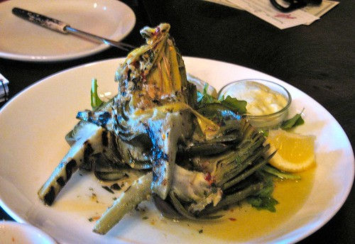 Grilled Whole Artichoke served as an appetizer at the Siena Restaurant Castle Rock Colorado date night summer