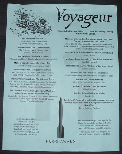 Voyageur Newsletter Hugo Winners Edition