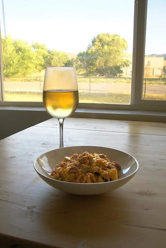 Paella with a glass of wine