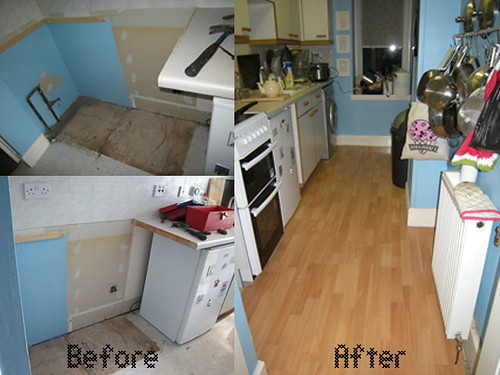 Kitchen Floor before and after