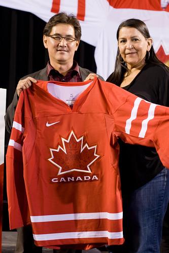 Stuart Iwasaki & Debra Sparrow - Canada Olympic hockey jersey unveiling