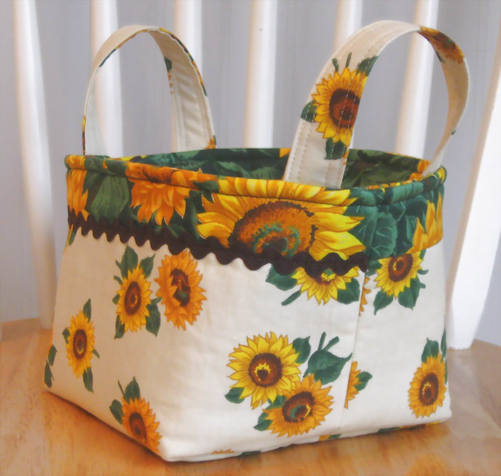 SUNFLOWERS- Fall- Autumn- Fabric Basket