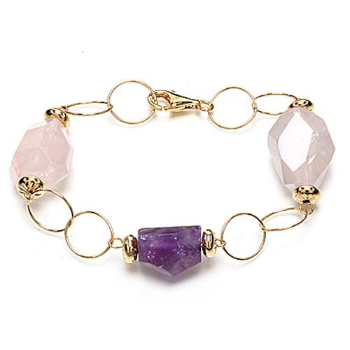 Amethyst & Rose Quartz Circle Links Bracelet 7.75'' - Yellow Gold