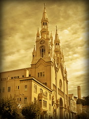 Saint Peter's and Paul Church, San Francisco (Mike G. K.) Tags: sanfrancisco california usa tower church yellow clouds golden vignetting saintpeterandpaul spyres mikegk:gettyimages=submitted