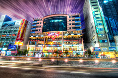Food Inn (Shoeven) Tags: china food colors night reflections stars lights crazy inn nikon colorful long exposure shanghai shot wide wideangle 11 tokina stuff pudong 11mm ultra hdr lightroom d90 photomatix pixelmator 1116mm