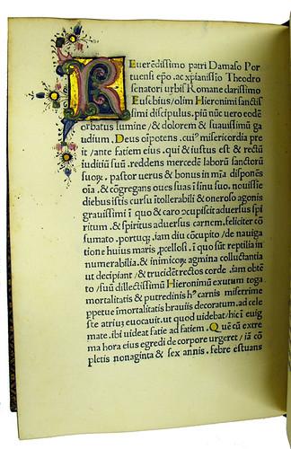 Illuminated initial from Hieronymus [pseudo-]: Aureola