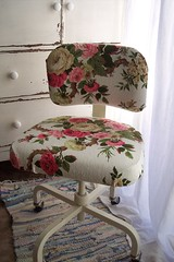 office chair redo (littlejunkshop) Tags: pink white floral office chair cream redo barkcloth