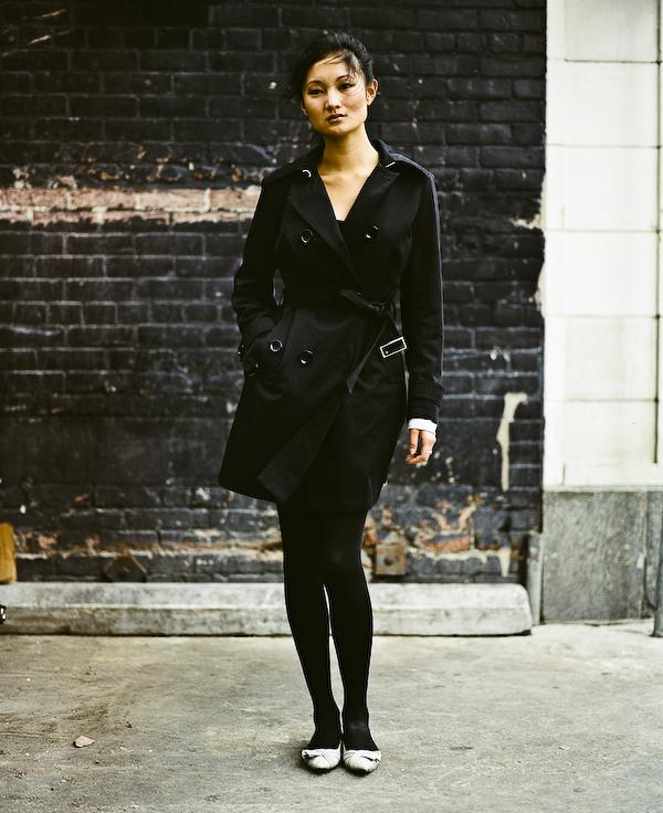 Black Trench Coat, Toronto Street Fashion @ Yonge and Dundas Sq., Toronto, krist papas, whatsyourpersona
