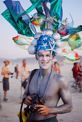 Siberfi at Burning Man (Chicago_Tim) Tags: art festival seashells costume desert metallic nevada makeup burningman blackrockcity 2009 headress siberfi