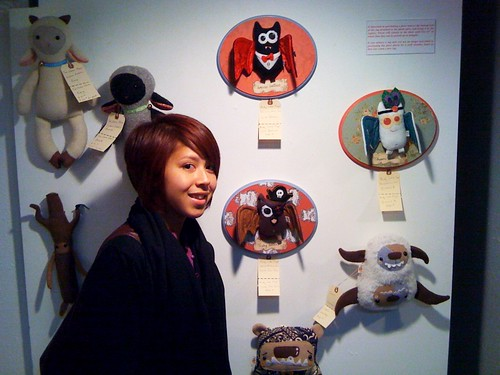 being a dork next to my pieces.