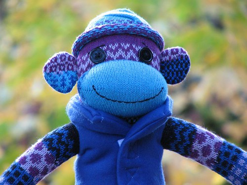 Colorful Blue Boy Sock Monkey