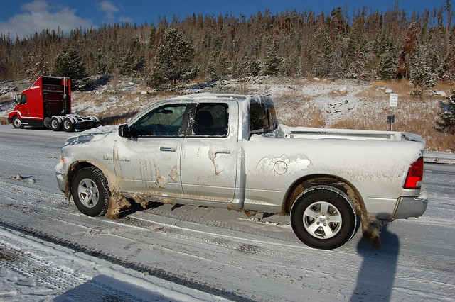 park winter cloud snow silver colorado driving bright cab quad dodge hemi ram 2009 1500 estes