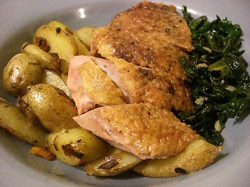 Homegrown potatoes, duck, kale