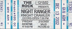 12/13/02 Night Ranger/Knight Crawler @ Maplewood, MN (Ticket)