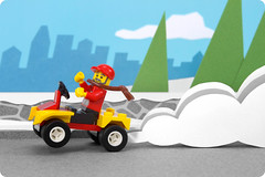Day 11: ATV (powerpig) Tags: city winter snow advent calendar lego atv 2009 mailman notetoself fourwheeler takesalongtime rebuildingsets withaslant