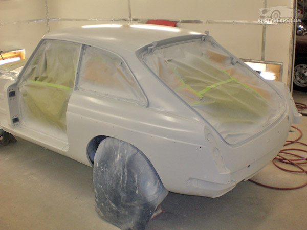 1967 MGB GT, first primer coat
