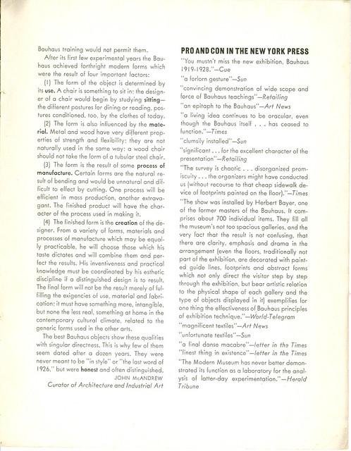 Bauhaus 1919 - 1938 Exhibition - Museum of Modern Art New York 1938 by DavideLevine
