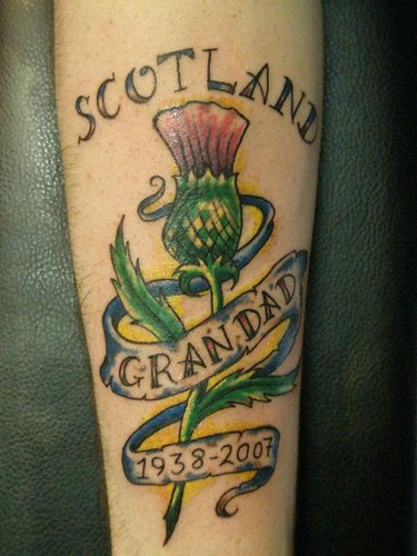 Scottish thistle tattoo Done